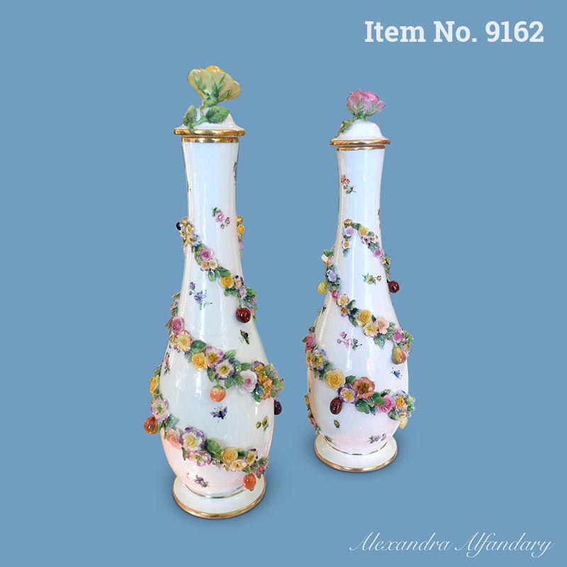 A Very Decorative Pair of Meissen Vases with Winding Garlands