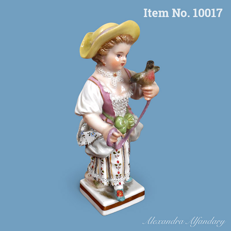Item No. 10017: A Small Meissen Figure Of A Young Girl With Pet Dove, ca. 1880