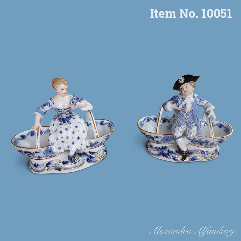 Item No. 10051: A Charming Pair of Blue and White Meissen Porcelain Salt and Pepper Figures, ca. 1880