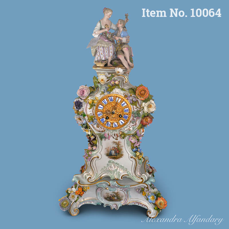 Item No. 10064: An Elegant Large Meissen Porcelain Clock And Stand, ca. 1870