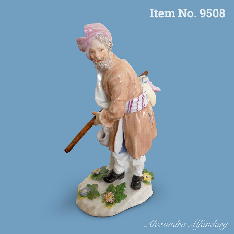 Item No 9508: An 18th Century Meissen Cris de St. Petersburg Figure of a Russian Peasant by Peter Reinicke, ca. 1750