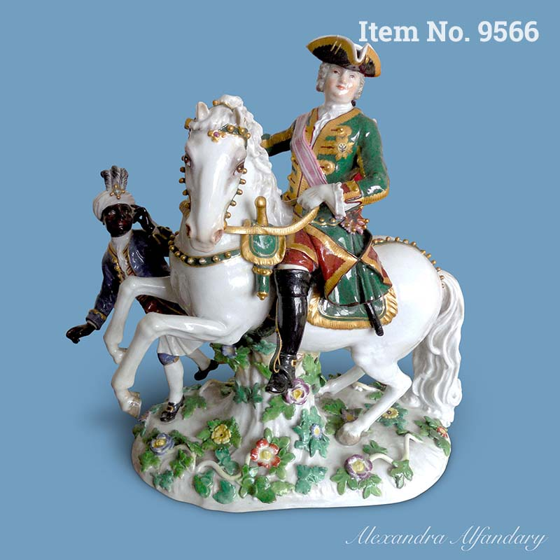 Item No. 9566: A Meissen Porcelain Group Of The Russian Empress Elisabeth Petrovna On Horseback, ca. 1870