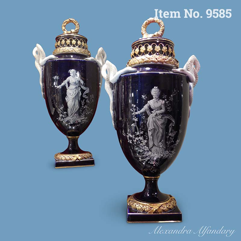 Item No. 9585 For the Collector: A Pair of Meissen Cobalt Blue Vases with White Enamel Decoration, ca. 1880