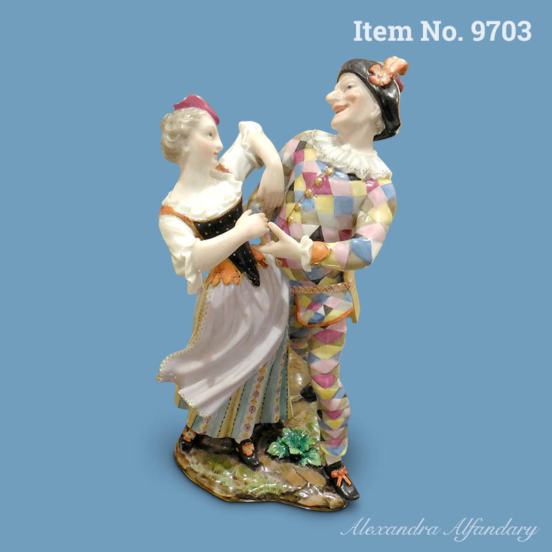 Item No. 9703: A Rare Meissen Porcelain Group Of Dancing Harlequin And Columbine, ca. 1860-70