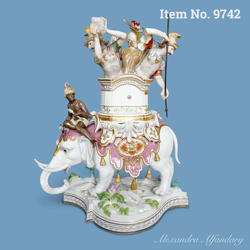 Item No. 9742: A Magnificent Meissen Elephant with Soldiers, ca. 1870
