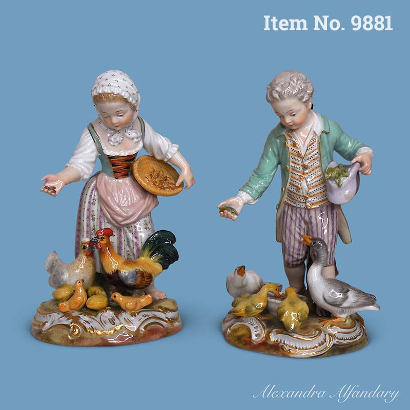 Item No. 9881: A Pair of Charming Figures of Children Feeding Chicken and Geese, ca. 1870-80