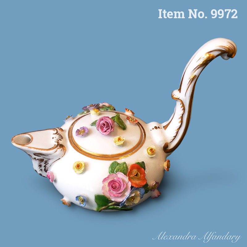 Item No. 9972: A Charming Small Meissen Teapot With Long Handle, ca. 1880