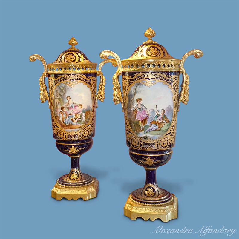 A Very Decorative Pair Of French Vases In The Svres Style