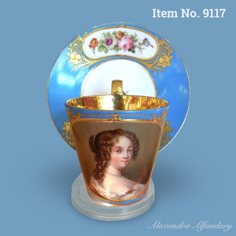 A well painted Paris portrait cup and saucer