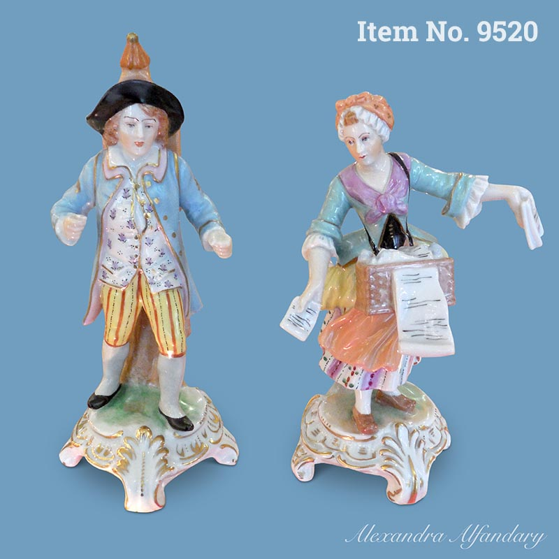 Item No. 9520: A Pair of Collectable Dresden Magic Lantern/Peepshow figurines, ca. 1920-30