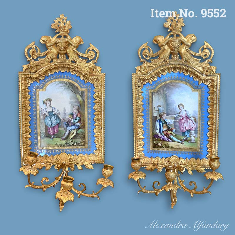 Item No. 9552: A Highly Decorative Pair of Sevres Style Wall Plaques, ca. 1880-1900