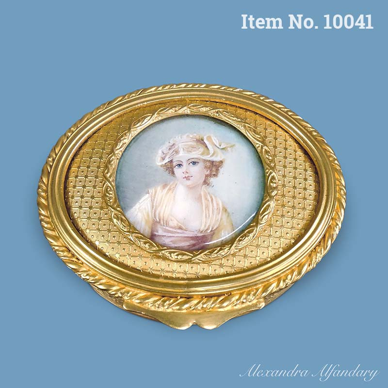 Item No. 10041: An Oval Gilt Metal Box With Painting Of A Young Lady, ca. 1900-1910