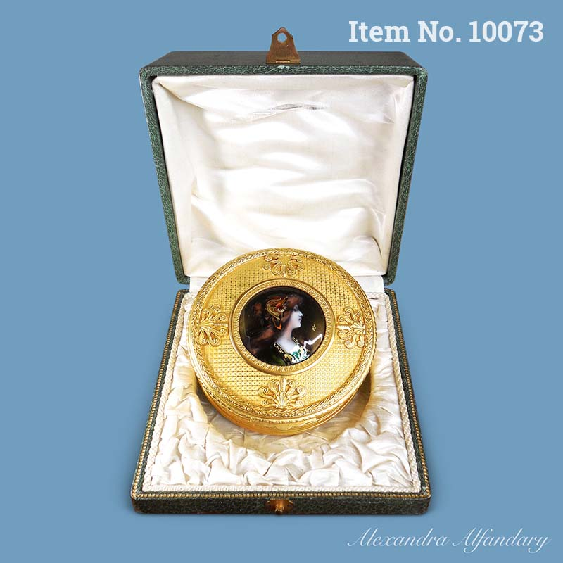 Item No. 10073: A French Gilt Metal Box With Limoges Enamel Portrait Set in Bespoke Leather and Silk Lined Box, ca. 1890
