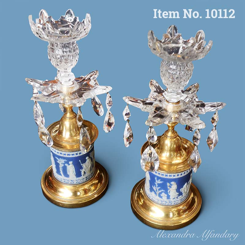 Item No. 10112: A Pair of Decorative Crystal and Wedgewood Candelabras