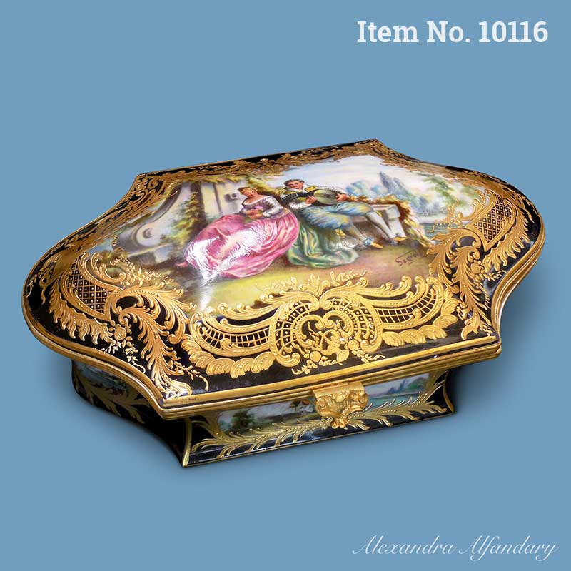 Item No. 10116: A Large Elaborately Decorated French Porcelain Box in the Sevres Style