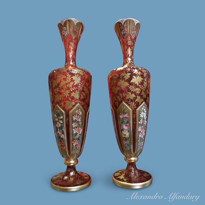 A Superb Pair Of Bohemian Glass Vases With Painted Overlay Glass Ca