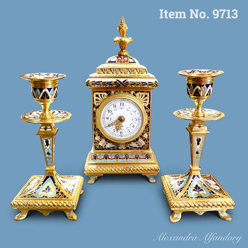 Item No. 9713: A Charming Champsleve Clock Set, French ca. 1900-1910