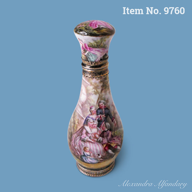 Item No. 9760: A Well Decorated French Enamel and Silver Scent Bottle, ca. 1900