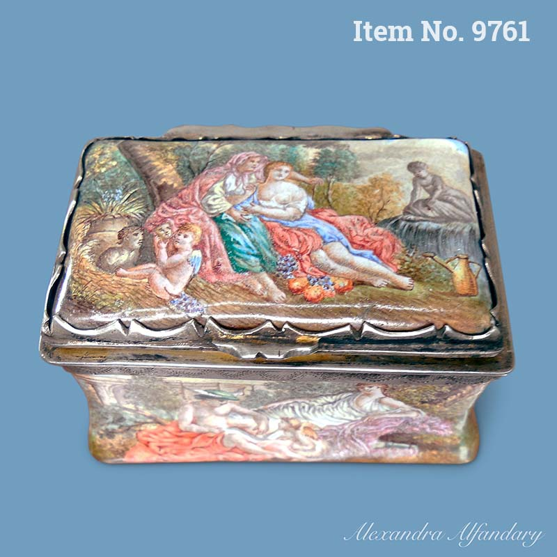 Item No. 9761: A Vienna Enamel Box Decorated All Over With Classical Scenes, ca. 1860-1870