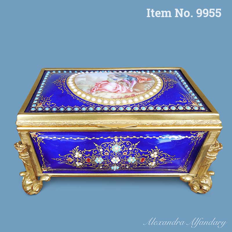 Item No. 9955: A French Blue Enamel Box Painted With Romantic Scene To Lid, Gilt Metal Mounts, ca. 1880-1900