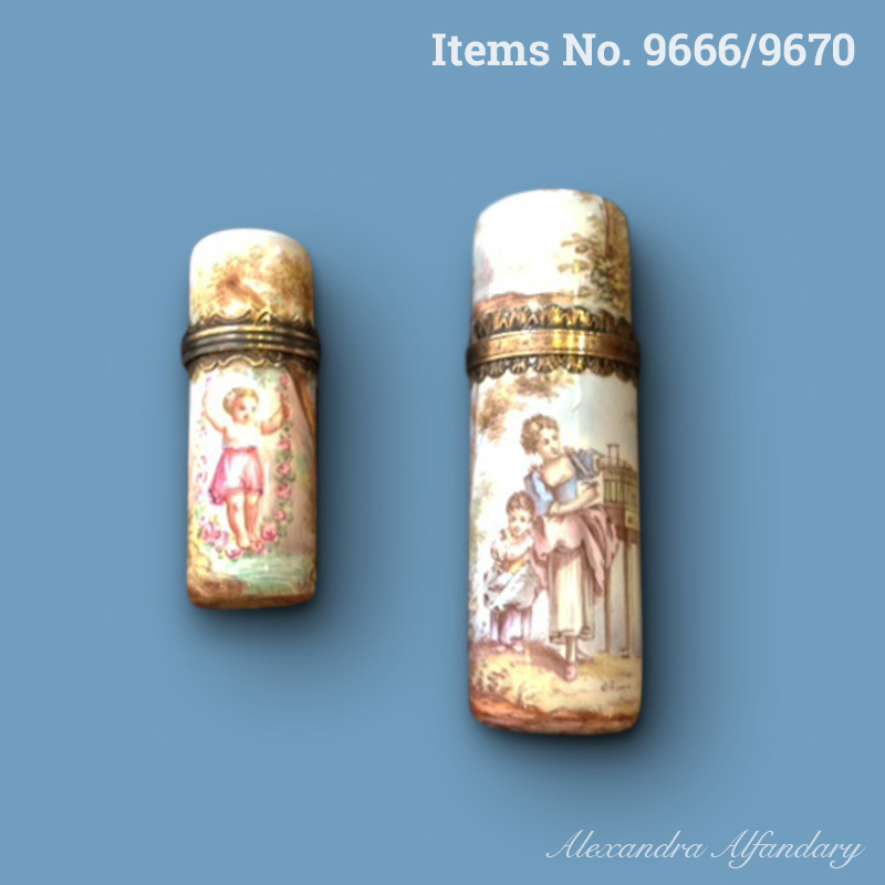 Items No. 9666/9670: Two French Enamel Scent Bottles of the Late 19th Century, French ca. 1890-1900